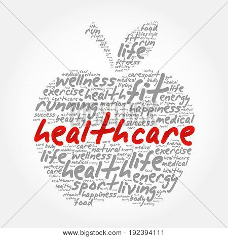 Health care apple word cloud collage health concept background