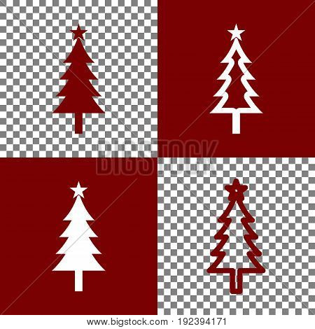 New year tree sign. Vector. Bordo and white icons and line icons on chess board with transparent background.