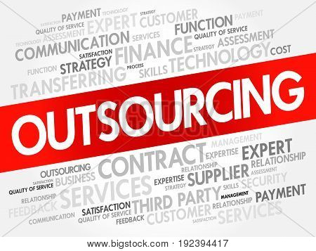 Outsourcing Word Cloud Collage
