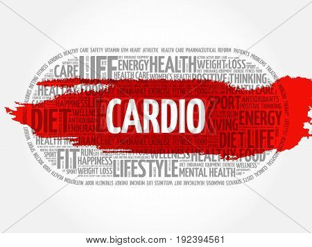CARDIO word cloud collage , fitness health concept