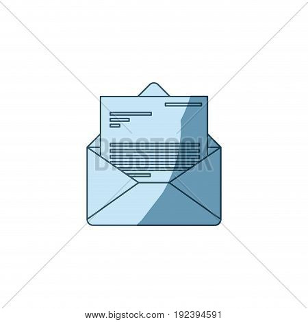 blue shading silhouette of envelope mail opened with letter vector illustration