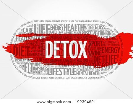 DETOX word cloud collage fitness health concept