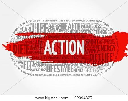 ACTION word cloud collage , fitness health concept