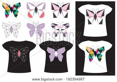 Applique butterfly from geometric figures on a black and white T-shirt