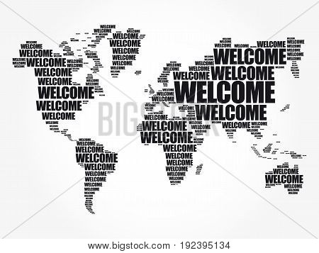Welcome World Map In Typography