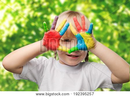 Colorful girl cute little hands elementary age well being