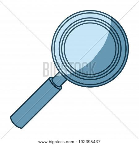 blue shading silhouette of magnifying glass in closeup vector illustration