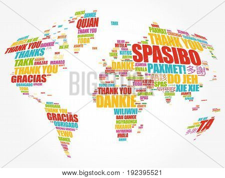 Thank You In Many Languages World Map