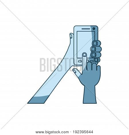 blue shading silhouette of hands holding smartphone vector illustration