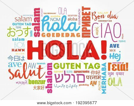 Hola (hello Greeting In Spanish) Word Cloud