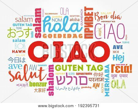 Ciao (hello Greeting In Italian) Word Cloud