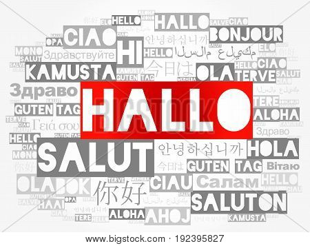 Hallo (hello Greeting In German) Word Cloud