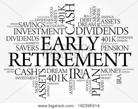 Early Retirement Word Cloud Collage