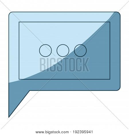 blue shading silhouette of square dialogue in closeup vector illustration
