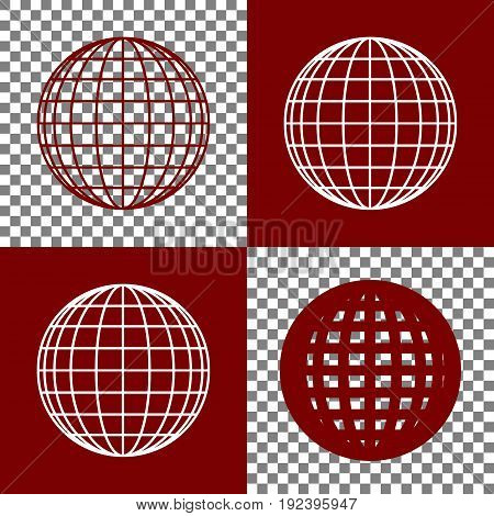 Earth Globe sign. Vector. Bordo and white icons and line icons on chess board with transparent background.