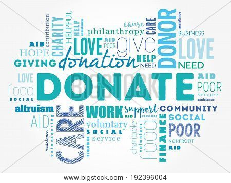 Donate Word Cloud Collage
