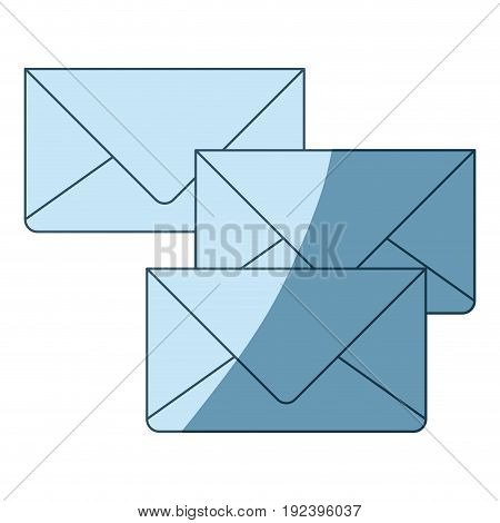 blue shading silhouette of envelopes of mail vector illustration