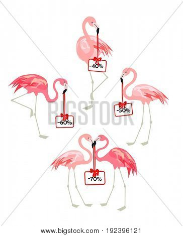 Hot summer sale and flamingo with sale tags