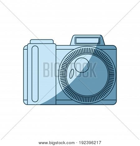 blue shading silhouette of photo camera vector illustration