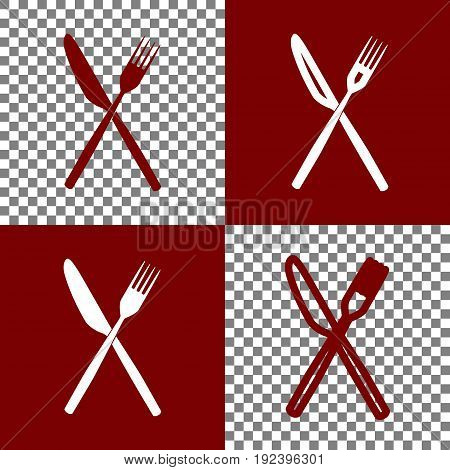Fork and Knife sign. Vector. Bordo and white icons and line icons on chess board with transparent background.
