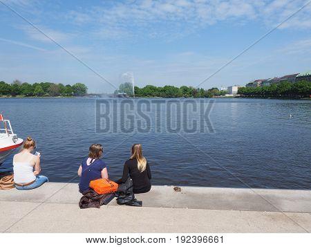 People At Binnenalster (inner Alster Lake) In Hamburg