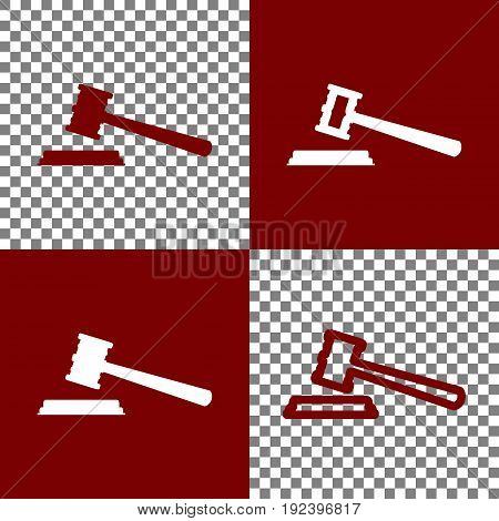 Justice hammer sign. Vector. Bordo and white icons and line icons on chess board with transparent background.