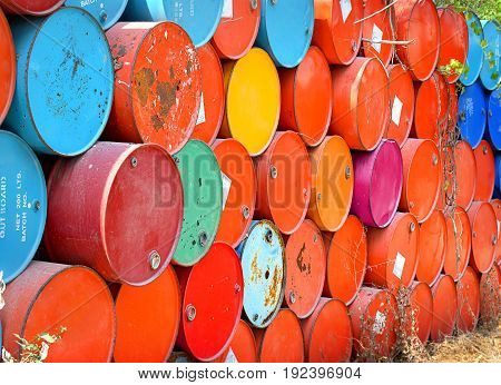 colorful of old oil tanks after uesd in outdoor day light