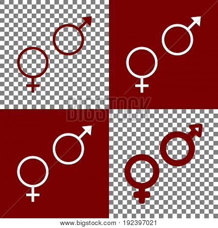 Sex symbol sign. Vector. Bordo and white icons and line icons on chess board with transparent background.