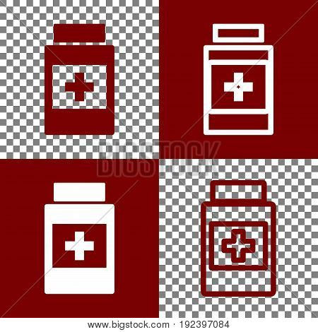 Medical container sign. Vector. Bordo and white icons and line icons on chess board with transparent background.