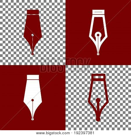 Pen sign illustration. Vector. Bordo and white icons and line icons on chess board with transparent background.