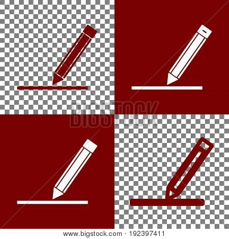 Pencil sign illustration. Vector. Bordo and white icons and line icons on chess board with transparent background.