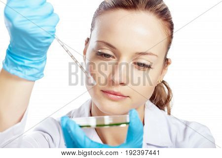 Female young biologist young adult white background view