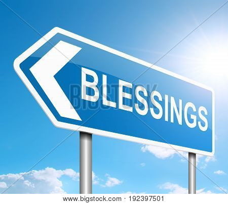 3d Illustration depicting a sign with a blessings concept.