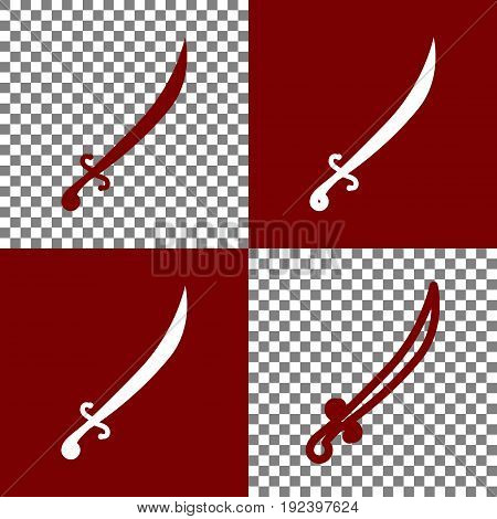 Sword sign illustration. Vector. Bordo and white icons and line icons on chess board with transparent background.