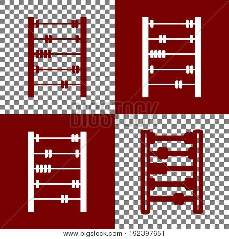 Retro abacus sign. Vector. Bordo and white icons and line icons on chess board with transparent background.