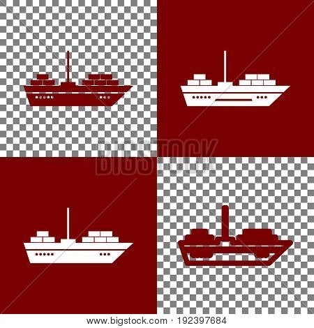 Ship sign illustration. Vector. Bordo and white icons and line icons on chess board with transparent background.