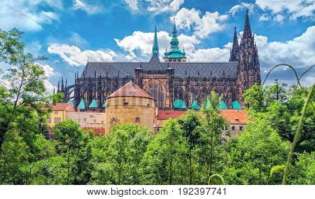 Czech Republic. Prague Castle - View Of St Vitus Cathedral