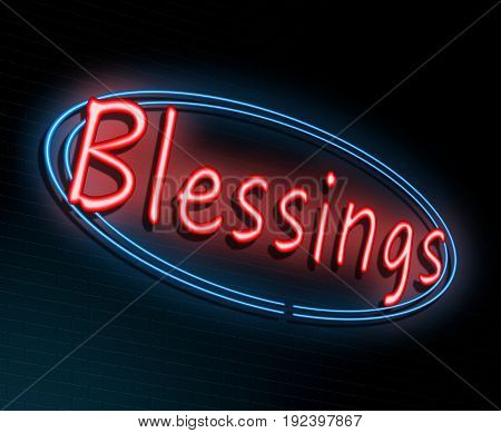 3d Illustration depicting an illuminated neon sign with a blessings concept.