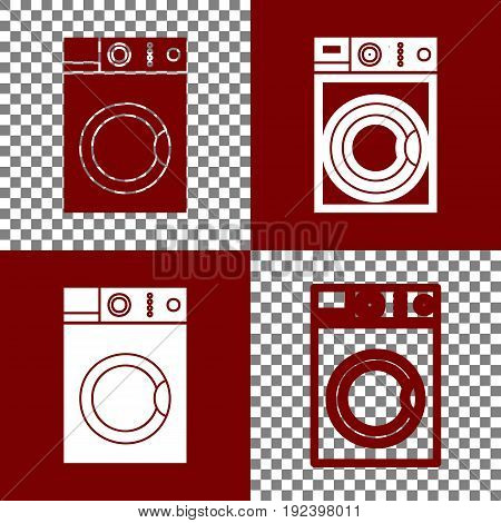 Washing machine sign. Vector. Bordo and white icons and line icons on chess board with transparent background.