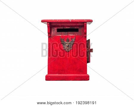 Mailbox made of red painted wood Used in olden days in Thailand isolated on white background with clipping path