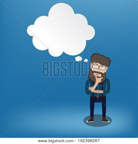 Young hiphter Man thinking of thought bubble on blue Background.