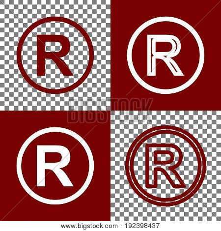 Registered Trademark sign. Vector. Bordo and white icons and line icons on chess board with transparent background.