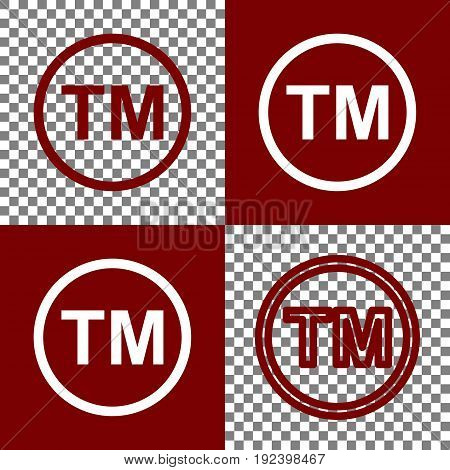 Trade mark sign. Vector. Bordo and white icons and line icons on chess board with transparent background.