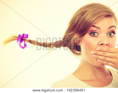 Teenage Girl In Braid Hair Making Shocked Face