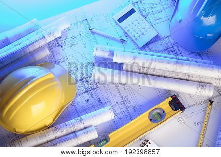 Contractor. Builder. Constructor. Concept. Plans of building.