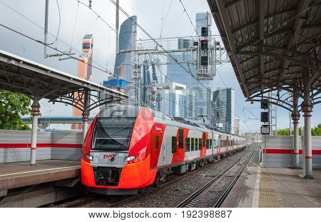 MOSCOW RUSSIA - June 22 2017 Electric train Lastochka at the Shelepikha station of the Moscow Central Ring.