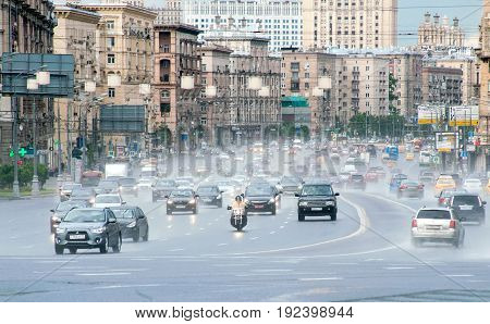 MOSCOW RUSSIA - June 22 2017 Automobile traffic on Kutuzov Avenue in Moscow.