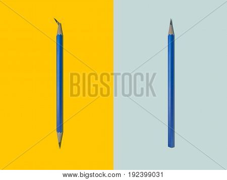 Black pencil with a broken point and pointed sharp pencil. Meaning difference and utilization.