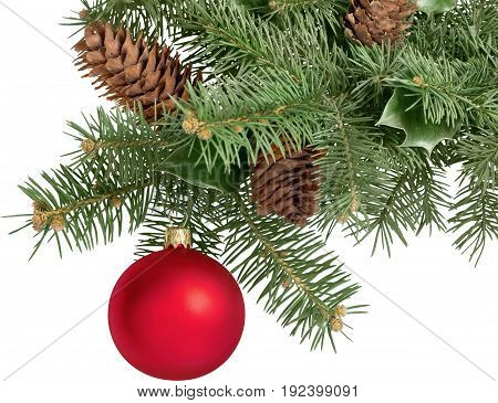 Red christmas tree fir bauble green color