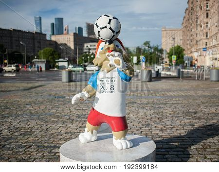MOSCOW RUSSIA - June 22 2017 The official mascot of the 2018 FIFA World Cup and the FIFA Confederations Cup 2017 wolf Zabivaka on Poklonnaya Hill in Moscow.
